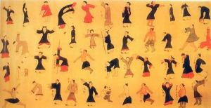 ancient scroll depicting exercises for cultivating and balancing Qi